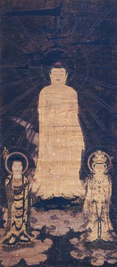 絹本著色阿弥陀・十一面観音・地蔵三尊画像