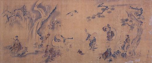 真野時綱筆絹本淡彩七福神図