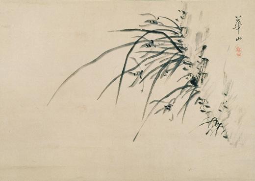 渡辺崋山筆紙本水墨蘭図