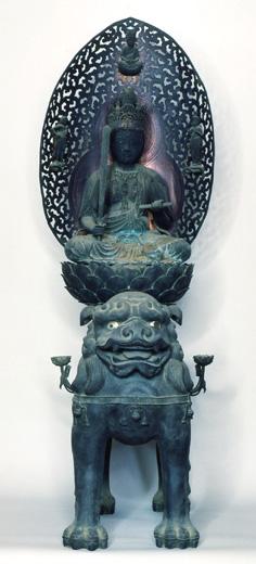 金銅鋳造文殊菩薩騎獅子像